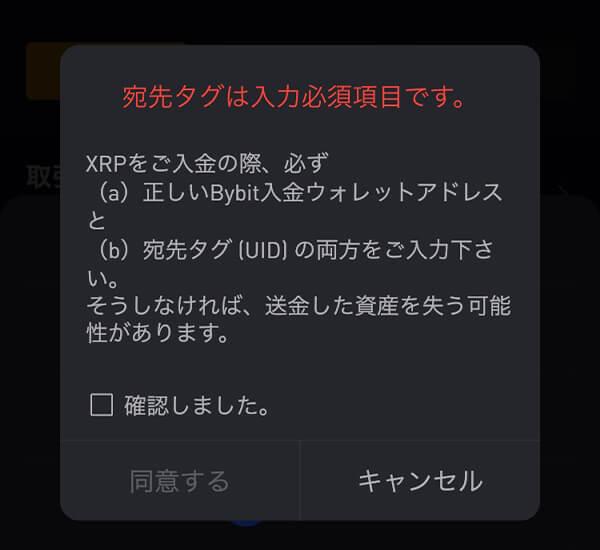 bybit(バイビット)入金ページでリップルを選択したときに表示される警告文