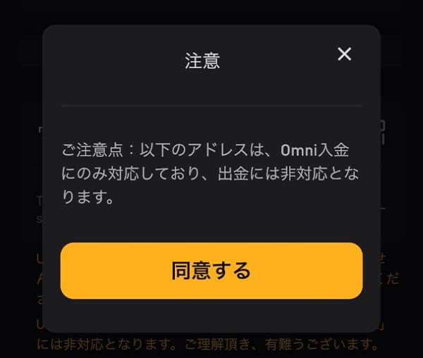 bybit(バイビット)入金ページでOmniを選択したときに表示される注意書き